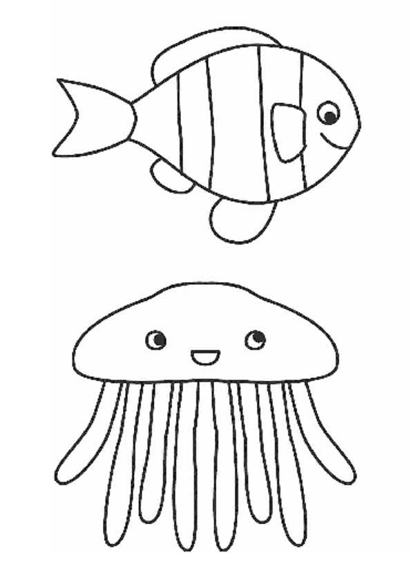 Медуза и рыбка Распечатать раскраски для мальчиков