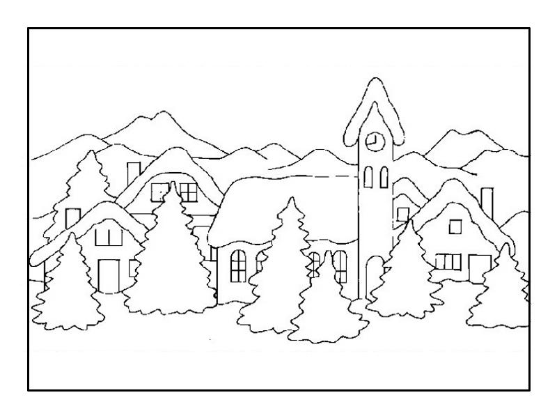 Зимние пейзажи раскраски для детей распечатать