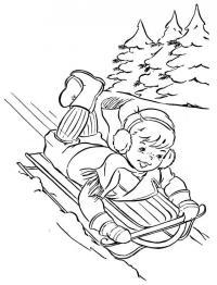 Катание с горы Раскраски для детей мальчиков