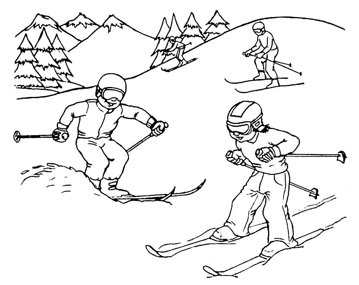Лыжники в горах Раскрашивать раскраски для мальчиков