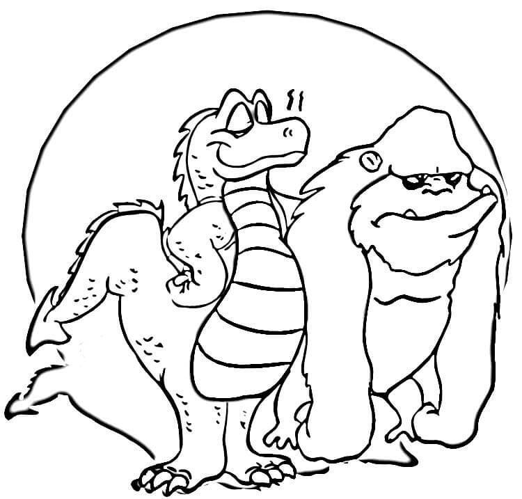 Годзилла и кинг конг Раскраски для мальчиков бесплатно
