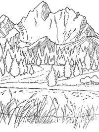 Горы, лес и река Раскраски для детей мальчиков