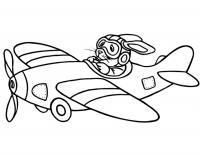 Кролик в самолете Раскраски для мальчиков бесплатно