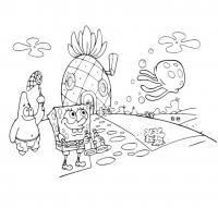 Спанч боб возле дома ананас Раскраски для мальчиков