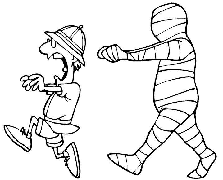 Мумия бежит за человеком Раскраски для мальчиков