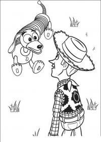 История игрушек, собачка с пружинкой по центру и кобвой вуди Скачать раскраски для мальчиков