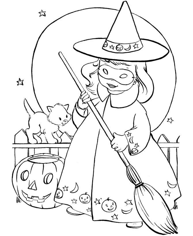 Ведьмочка, кошка, тыква на хэллоуин Раскраски для мальчиков