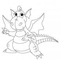 Милый дракон с крыльями Раскраски для мальчиков