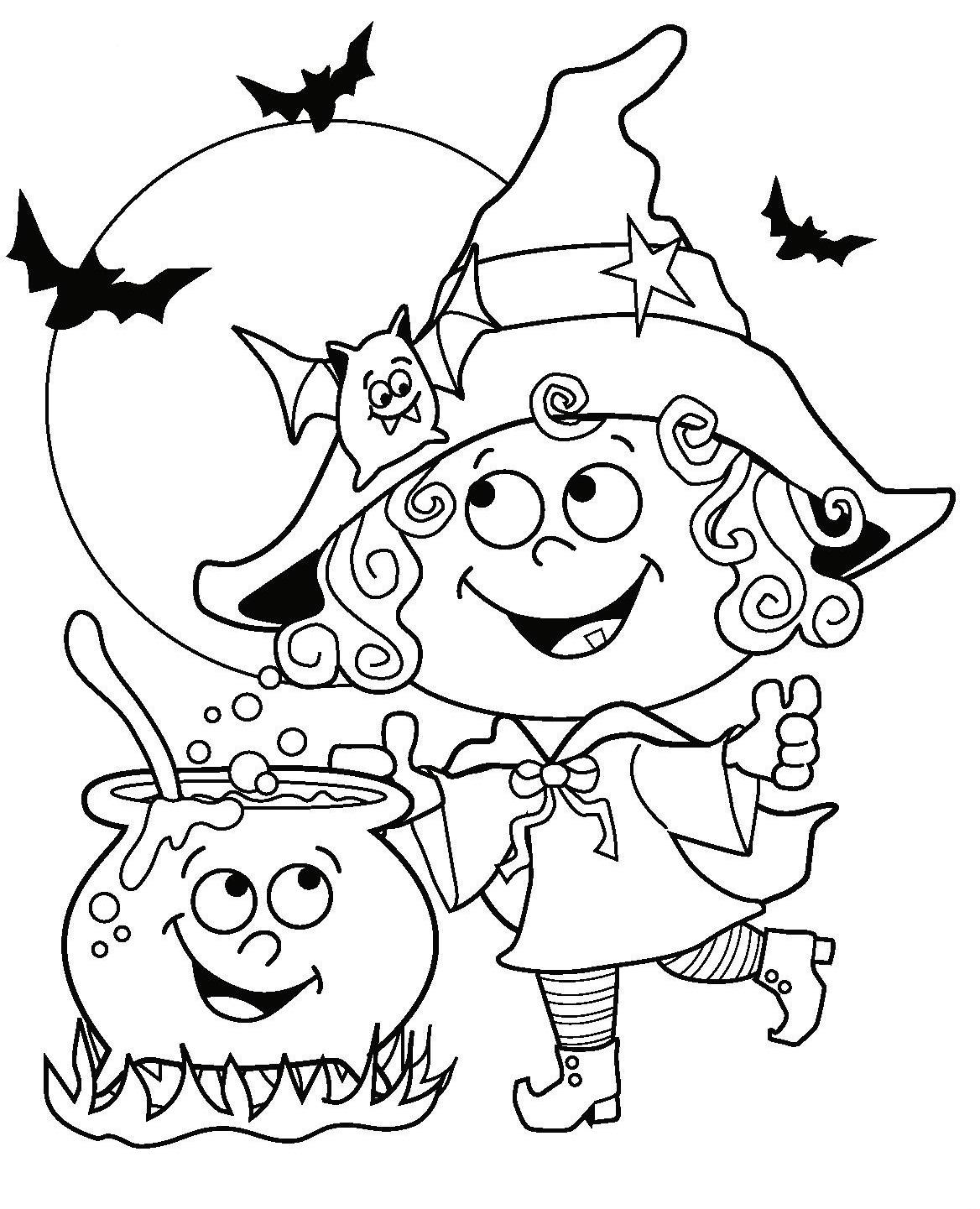 Ведьма возле котелка зелья и летучая мышь Раскраски для мальчиков