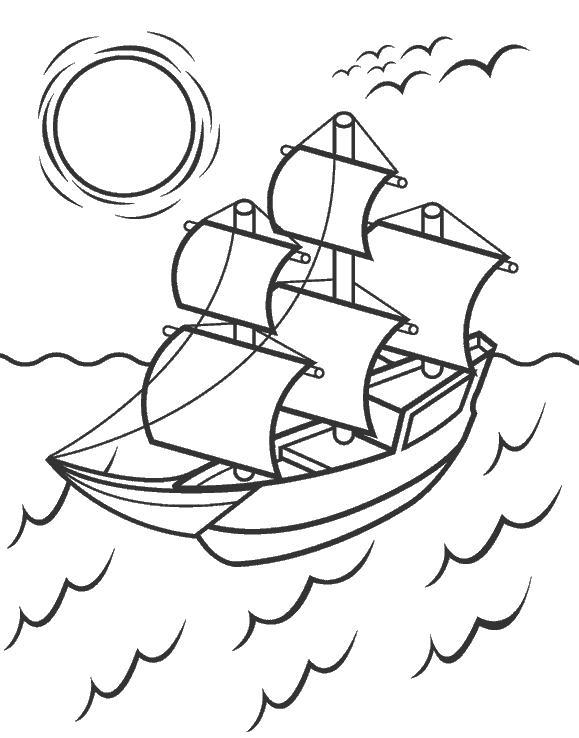 Корабль плавущий по волнам Раскраски для мальчиков