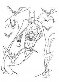 Бетмен в окружении летучих мышей Раскраски для мальчиков