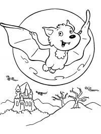 Летучая мышка на фоне луны и замка Раскраски для мальчиков