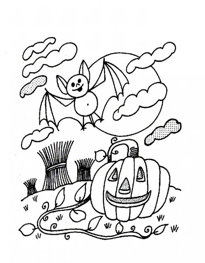 Летучая мышь на фоне луны и тыква к хэллоуину Раскраски для мальчиков