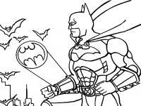 Бетмен подает сигнал в небе Распечатать раскраски для мальчиков