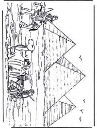 Три пирамиды, караван с верблюдами и лошадьми Раскраски для мальчиков бесплатно