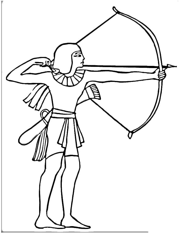 Стрельбы из лука, египтянин Раскраски для мальчиков бесплатно