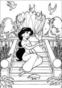 Шахерезада на лестнице в окружении птиц Раскраски для мальчиков бесплатно
