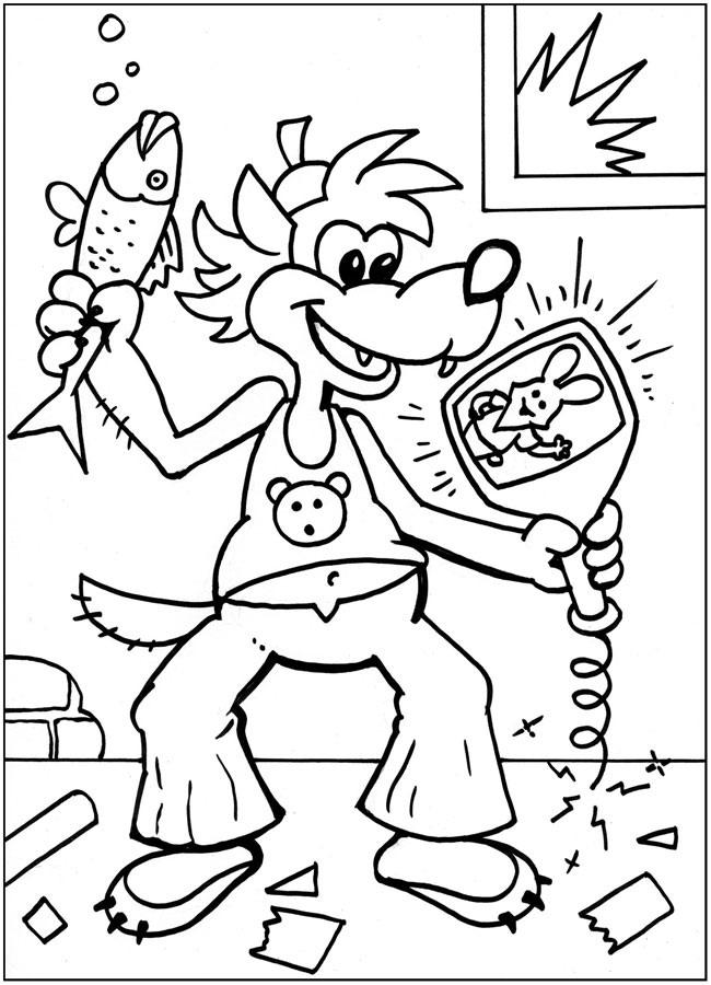 Волк из мультфильма ну погоди с рыбой и кинескопом от телевизора Раскраски для мальчиков бесплатно