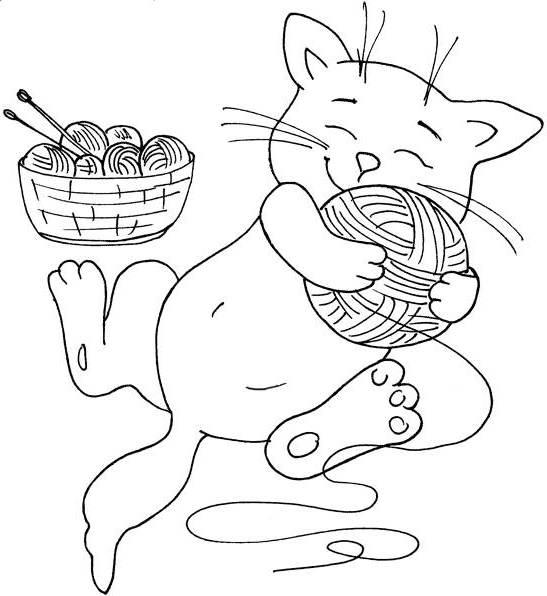 Котенок в обнимку с клубком Раскраски для мальчиков