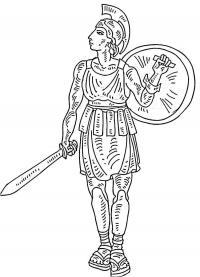 Римский воин с мечем и щитом Раскраски для мальчиков