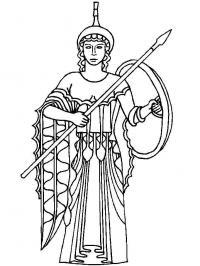 Греческий воин с копьем и щитом Раскраски для мальчиков