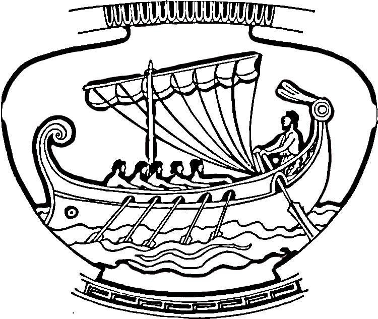 Греческая ваза с кораблем Раскраски для мальчиков