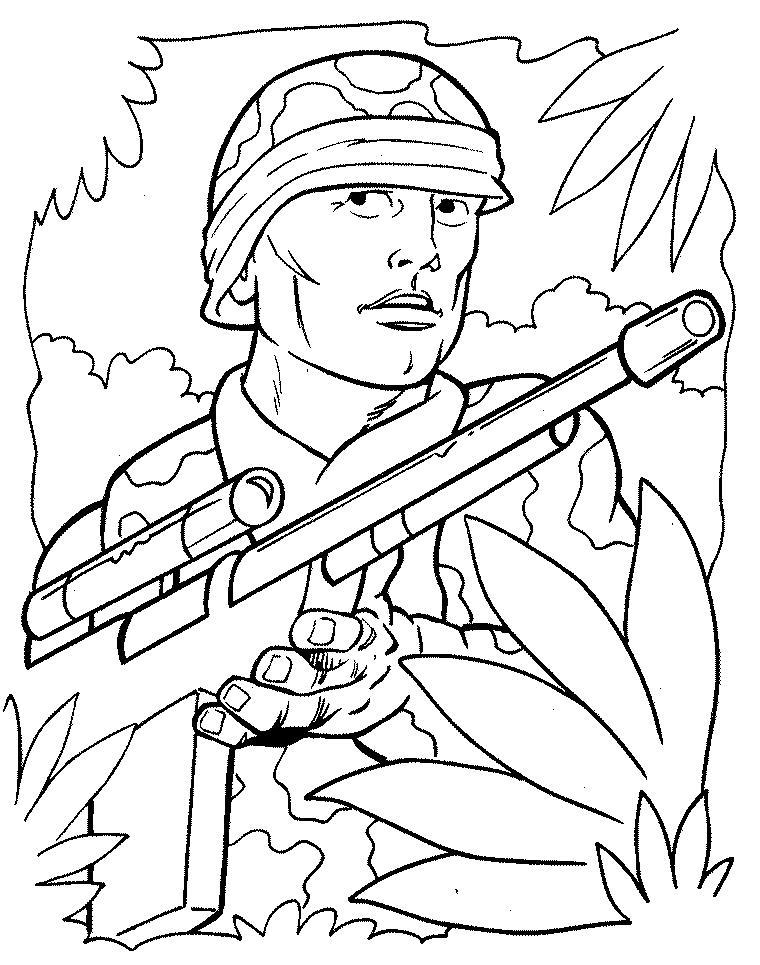 Солдат с автоматом Раскраски для мальчиков