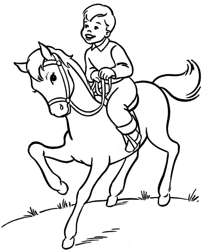 Мальчик на лошаде Раскраски для мальчиков