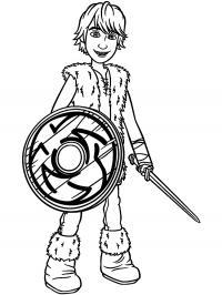 Викинг с деревянным щитом и мечем Раскраски для мальчиков бесплатно