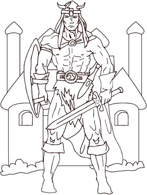 Викинг с ф шлеме с рогами с мечем Раскраски для мальчиков бесплатно
