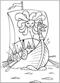 Викинги на корабле Раскраски для мальчиков бесплатно