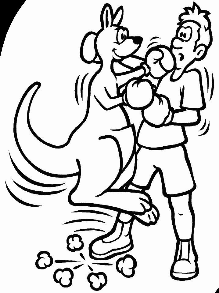 Бокс с кенгуру Распечатать раскраски для мальчиков