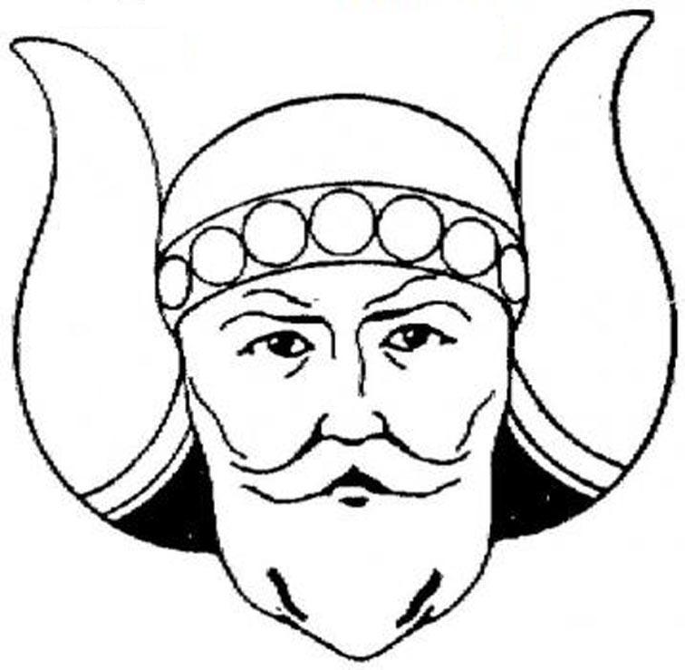 Викинг в шлеме с бычьими рогами Раскраски для мальчиков бесплатно
