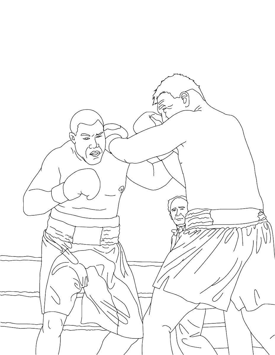 Поединок бокса Распечатать раскраски для мальчиков