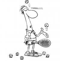 Теннис, получить мячом по лбу Раскраски для мальчиков