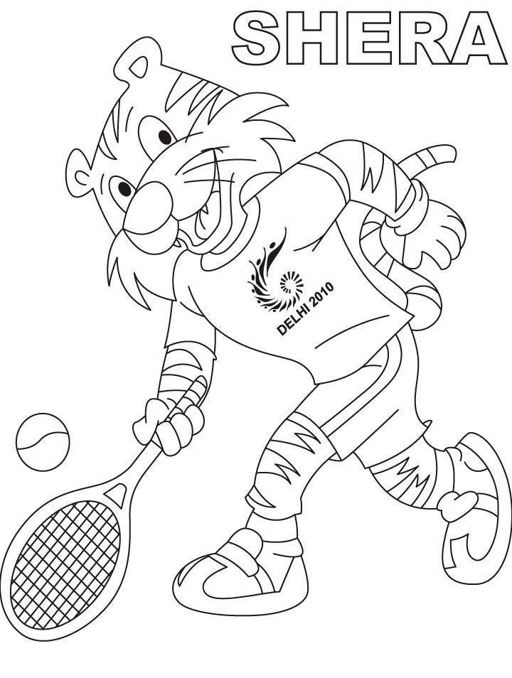 Тигр играет в теннис Раскраски для мальчиков