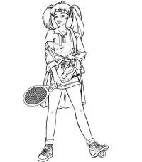 Теннис, девушка с хвостиками и ракеткой в руках Раскраски для мальчиков