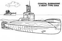Субмарина и корабль Скачать раскраски для мальчиков