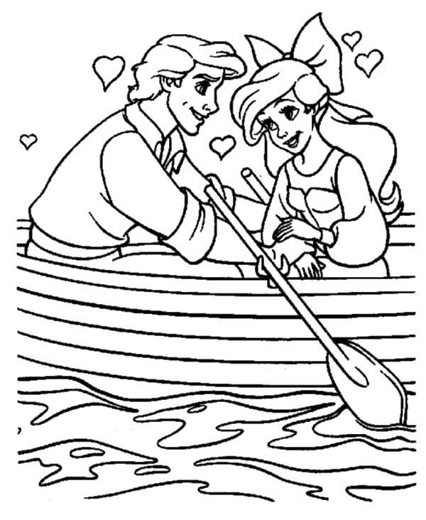 Девушка и парень в лодке Раскраски для мальчиков