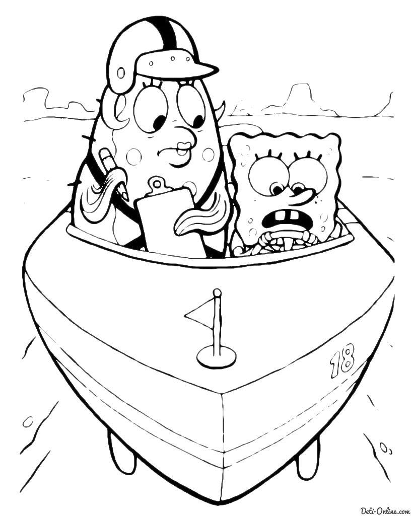Спанч боб в лодке Раскраски для мальчиков