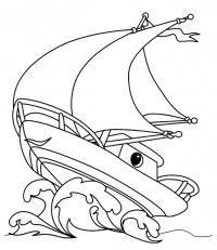 Корабль на большой волне Раскрашивать раскраски для мальчиков