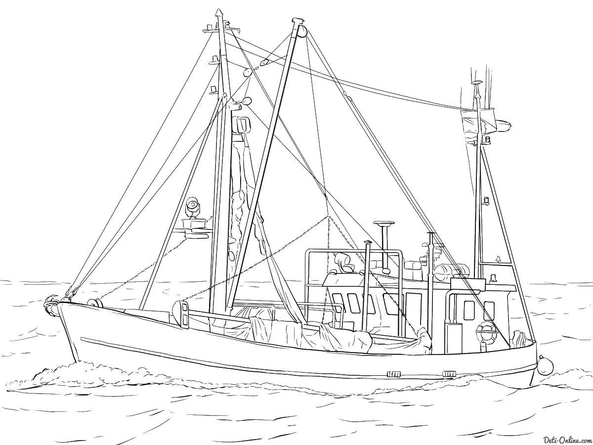 Рыбацкая лодка Раскраски для мальчиков