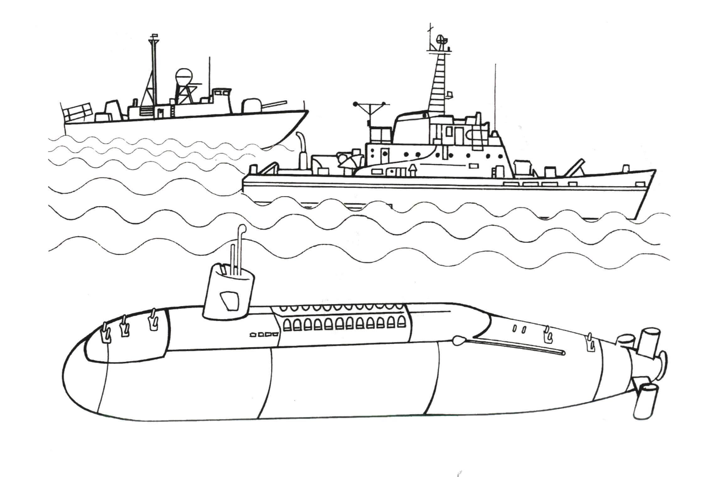 Подводная лодка на задании Скачать раскраски для мальчиков