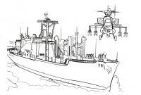 Вертолет и военный корабль Раскрашивать раскраски для мальчиков