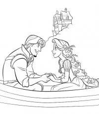 Девушка и парень в лодке рядом с домом Раскраски для мальчиков