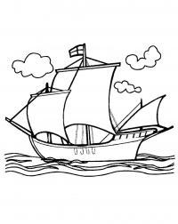 Корабль на плаву Раскраски для мальчиков