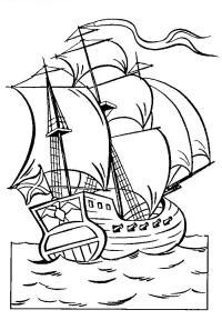 Корабль плывет по морю Раскрашивать раскраски для мальчиков