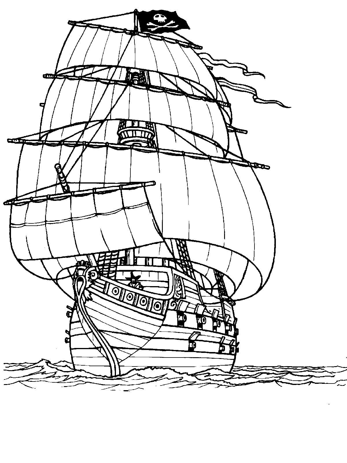 Корабль плывет по океану Раскрашивать раскраски для мальчиков
