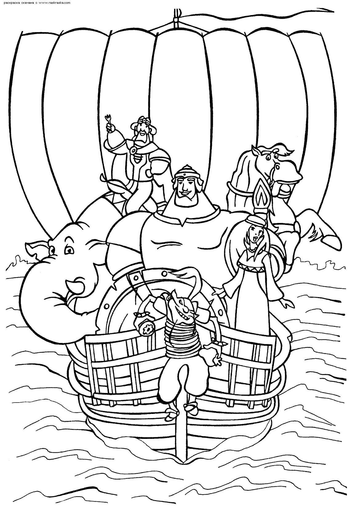 Богатырь девушка конь на корабле Раскраски для мальчиков