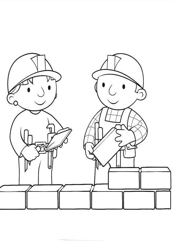 Строитель кладут кирпичи Раскраски для мальчиков
